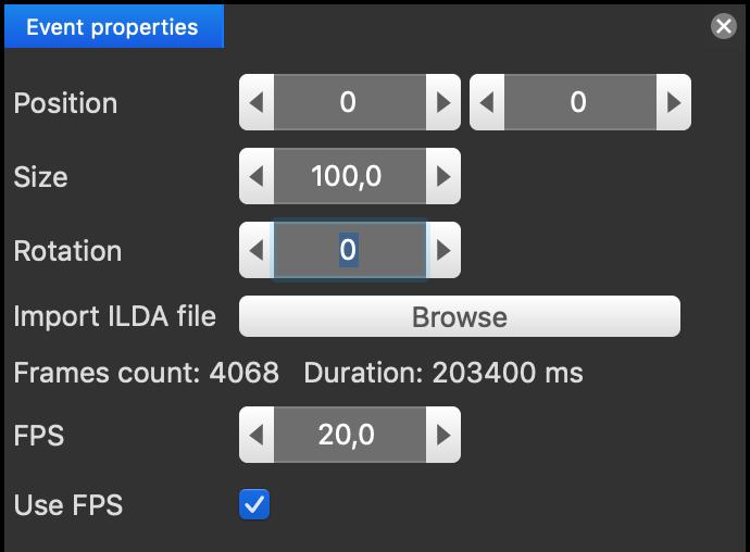 ILDAファイルのプロパティ
