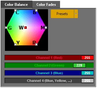 Laser show color balance