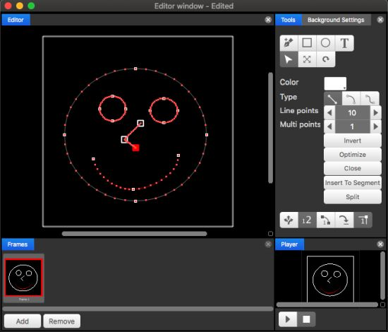 Graphics editor for laser shows